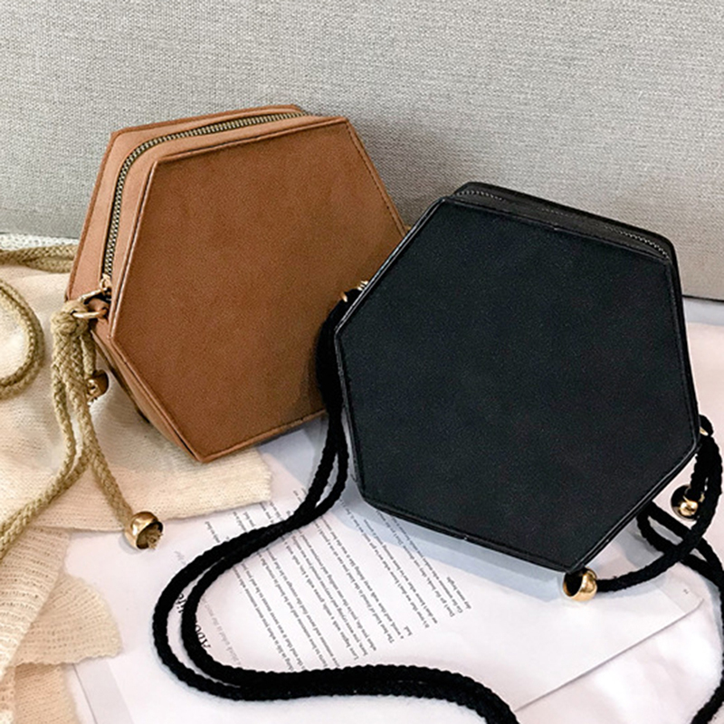 Korean Style Soft Scrub PU Leather Ladies Shoulder Crossbody Bag Creative Women Vintage Hemp Rope Hexagon Messenger Bag