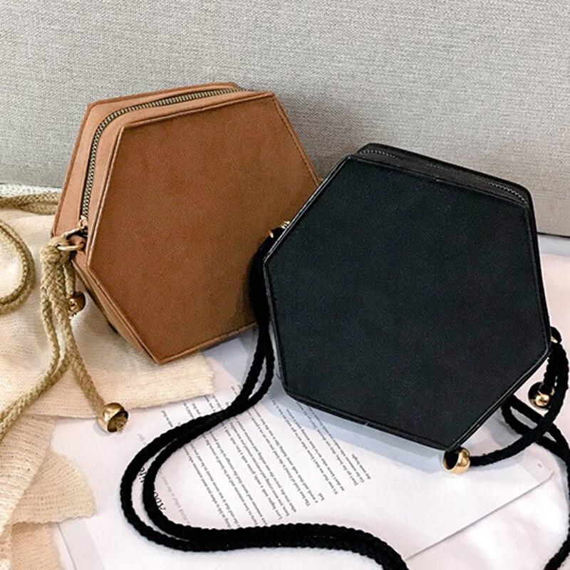 Korean Style Soft Scrub PU Leather Ladies Shoulder Crossbody Bag Creative Women Vintage Hemp Rope Hexagon Messenger Bag