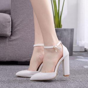 Image 5 - Sandales blanches à talons hauts dété, escarpins à plateforme, escarpins à talons carrés, cristal, pour femmes