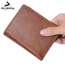 AURAY Men Vintage Luxury Genuine Leather Wallet Money Bag Coin Purse Rfid Mens Wallet Leather Genuine Men Wallets Card Holder