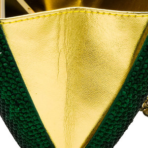 Image 5 - Boutique De FGG Elegant Green Emerald Crystal Women Evening Handbags Metal Hard Case Wedding Party Dinner Diamond Clutch Bag