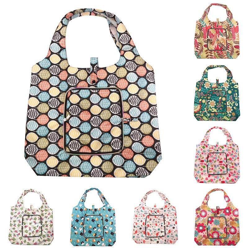 Big Size Thick Oxford Large Tote Eco Reusable Polyester Portable Shoulder Women's Handbags Folding Pocket Shopping Bag Foldable
