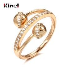 Kinel – bague Double sphérique en or Rose pour femmes, anneau de fiançailles, mignon, luxe, Unique, bijoux à la mode, tendance, en Zircon naturel, 585