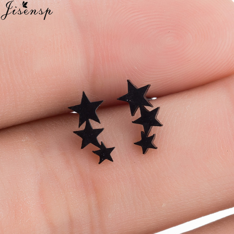 Женские серьги-гвоздики с 3 звездами Jisensp, черные серьги из нержавеющей стали в минималистичном стиле, Ювелирное Украшение