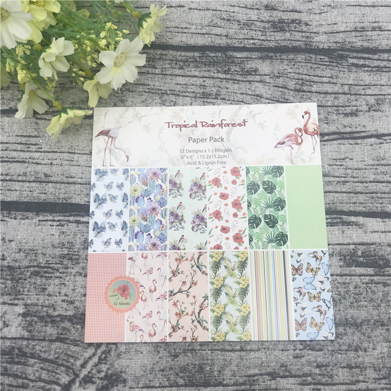 """12pc 6""""X6""""The Flamingo Flower Garden patterned paper Scrapbooking paper pack handmade craft paper craft Background pad 2"""