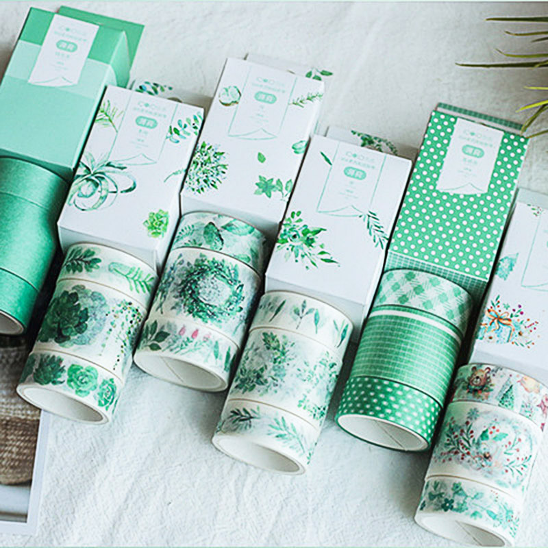 Kawaii Plant Adhesive Tape Cute Green Washi Tape Masking Tapes For Kids Scrapbooking DIY Photos Albums Supplies Stationery
