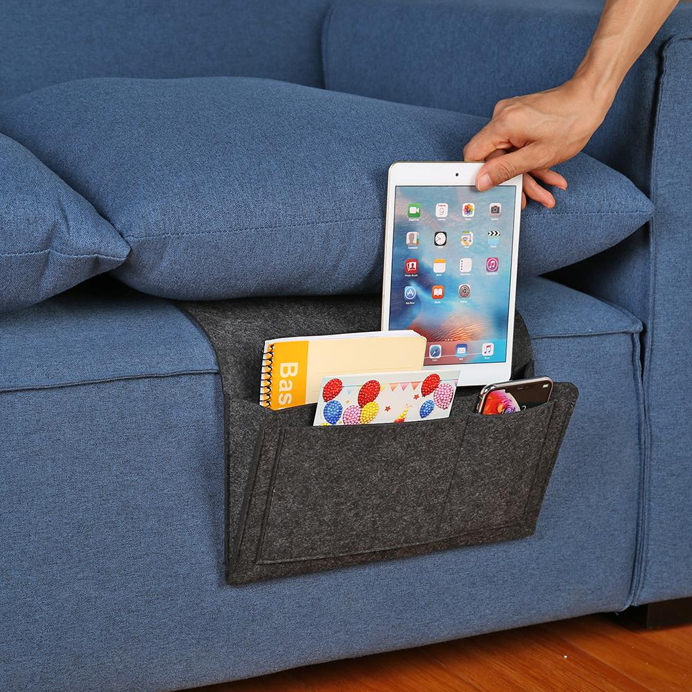 Felt Bed Caddy Bedside <font><b>Pocket</b></font> <font><b>Sofa</b></font> Desk Storage Bag Organizer TV <font><b>Remote</b></font> Holder Storage Bags <font><b>For</b></font> Home Bedroom Decoration image