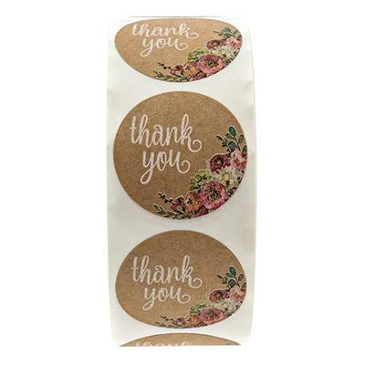 Купить с кэшбэком Brown Kraft floral thank you Stickers seal labels 500 Labels per roll scrapbooking stickers for Package stationery sticker tags