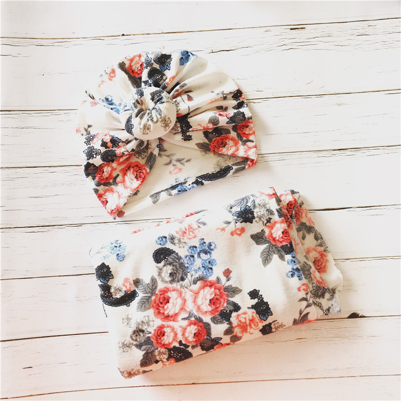 PatPat Allover Floral Swaddle Blanket And Headband Cotton Printed Casual Baby Sleeping Bag 60cm Two-piece