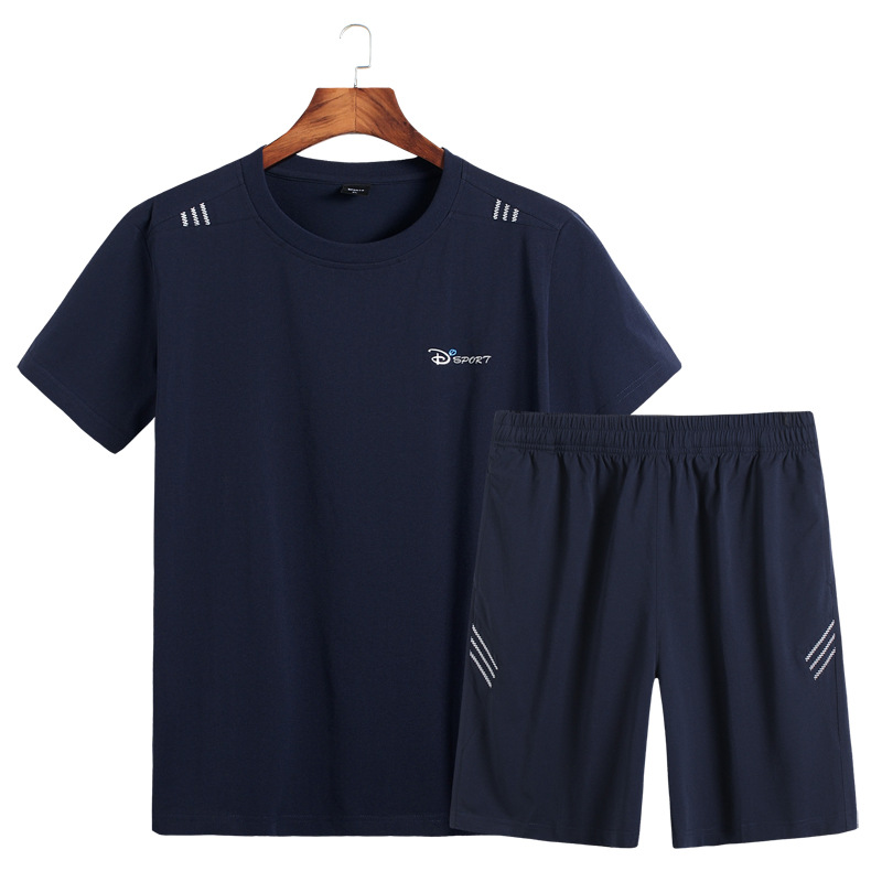 2019 Summer New Style Men Plus-sized T-shirt Short Sleeved Shorts Suit Youth Trend Of Fashion Leisure Suit