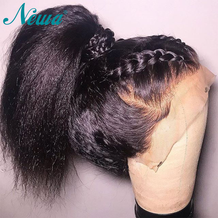 Newa Hair Kinky Straight Full Lace Wigs With Baby Hair Brazilian Remy Hair Full Lace Human Hair Wigs Pre Plucked For Black Women