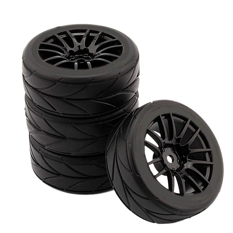4 шт. 1/10 резиновые шины Rc шины для гоночных автомобилей на ободе колеса дороги подходят для Hsp Hpi 9068-6081 Rc части автомобиля