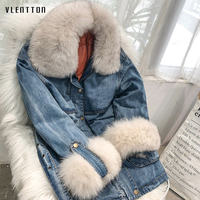 Winter Women Real Fox Fur Down Denim Jacket Coat 90% Duck Liner Thick Warm Parka Female Casual Long Two Piece Set Jean Outwear