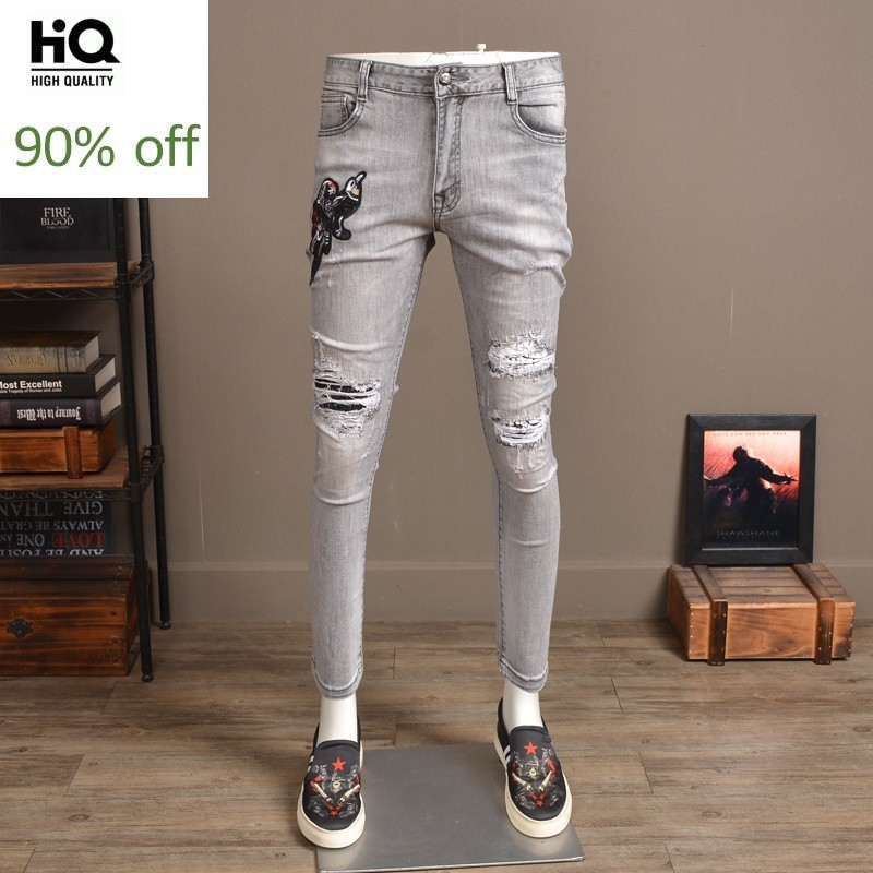 Spring Summer Mens Vintage Bird Embroidery Jeans Pencil Pants Denim Sequined Hole Ripped Stretch Slim Fit Ankle Length Pants
