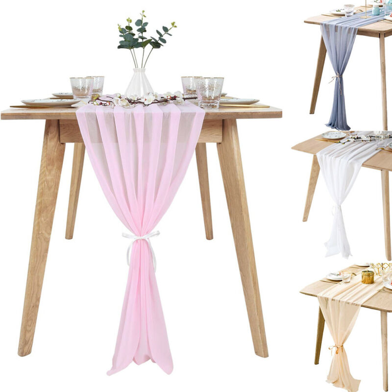305x30cm Six Diffent  Color Soft Chiffon Table Runner Tablecloth Wedding Christmas Party Home Decor