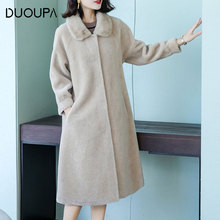 DUOUPA 2019 New Leather Grass Windbreaker Coat Granule Sheep Shearing Female Wool Long Otter Collar Fur Temperament