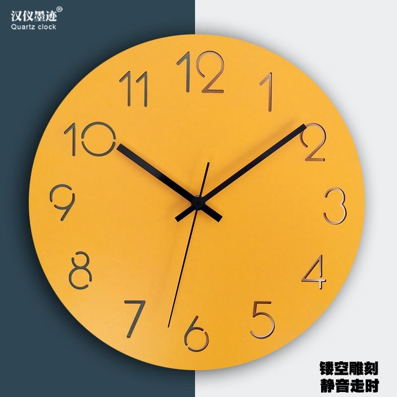 Horloge murale jaune silencieuse de style nordique | Grande montre murale en bois, salon moderne chambre à coucher, horloge murale de cuisine bureau, Pendule murale décor SC409