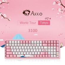 100-Keys PBT Gamer Mechanical-Gaming-Keyboard Orange-Switch Pink Blue AKKO 3096 Sakura