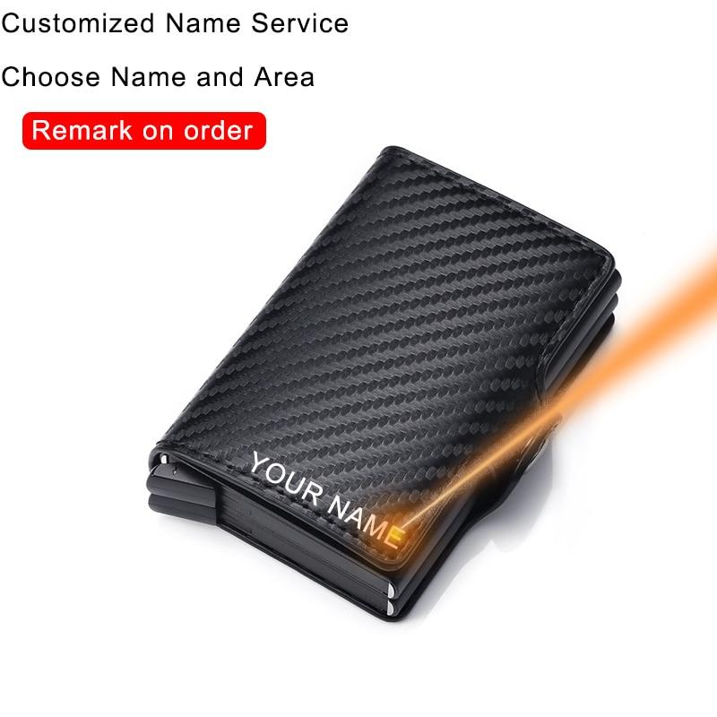 Carbon Fiber Anti Rfid Credit Card Holder Mens Double Cardholder Case Wallet Metal Business Bank Creditcard Minimalist Wallet