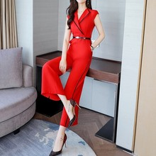 Summer 2020 Stylish Jumpsuit Women Wide Leg Trousers Elegant Slim Overalls Party Sleeveless Playsuit Red Black White Jumpsuits(China)