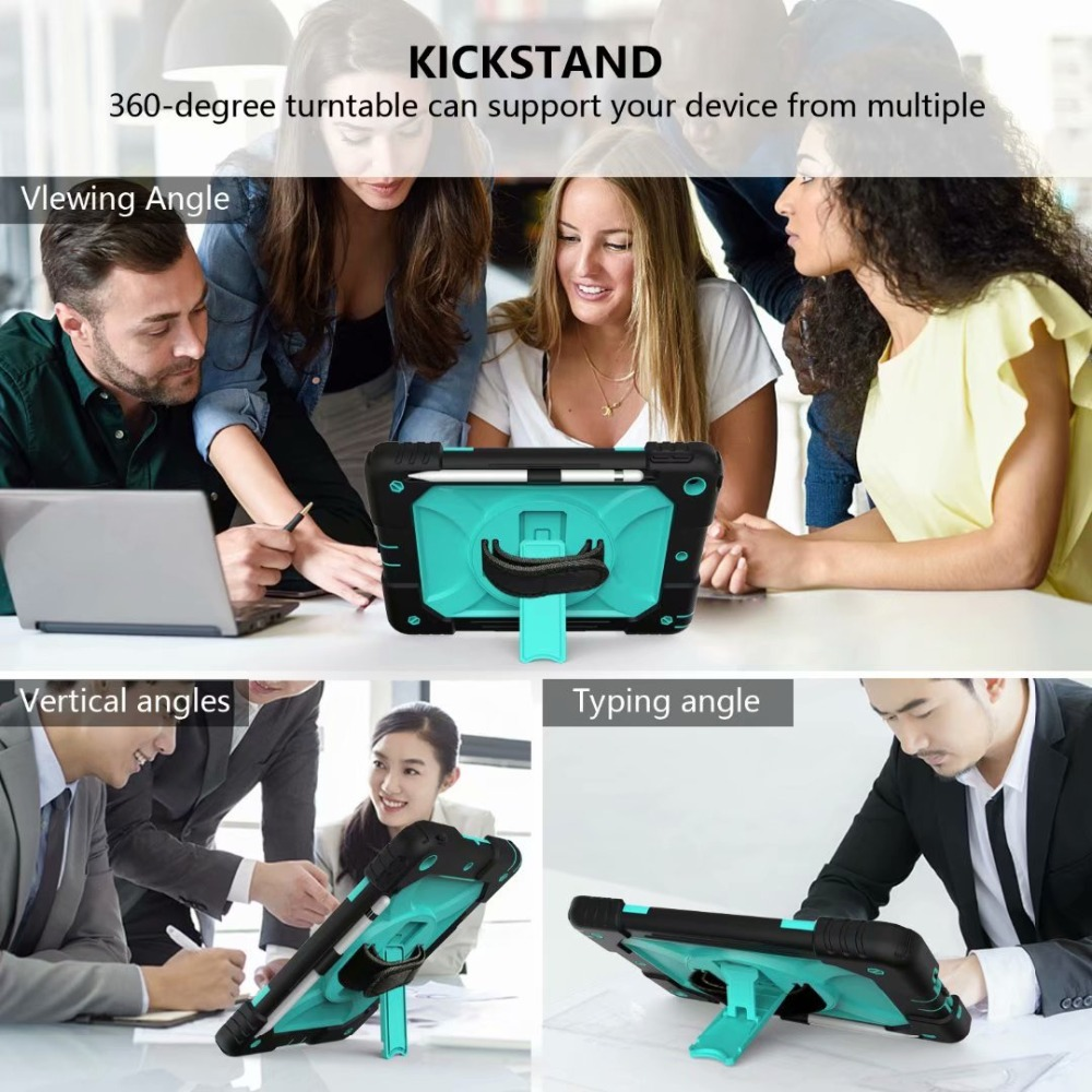 For iPad For Rotating Case Hand Strap Generation Pencil Cover 7th iPad 360 Stand Holder
