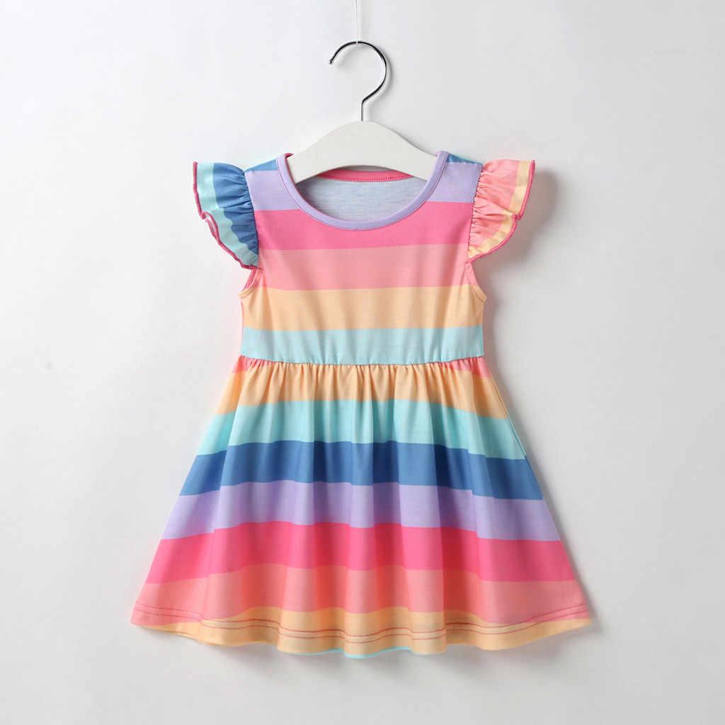 6M-4Y 幼児の子供の女のドレスフライスリーブ虹のストライプのドレス a ラインサンドレス夏の服