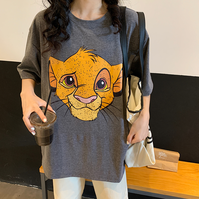 The Lion King Cartoon Print Tshirt Women Vintage Summer Shirts Short Sleeve Casual Streetwear Long Top Tees Plus Size 2020 W401