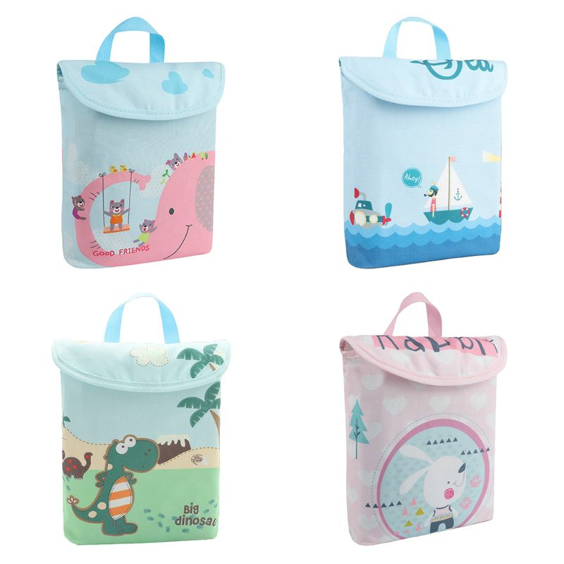 Double Layer Infant Diapers Storage Bag Cartoon Printed Waterproof Portable Nappies Organizer