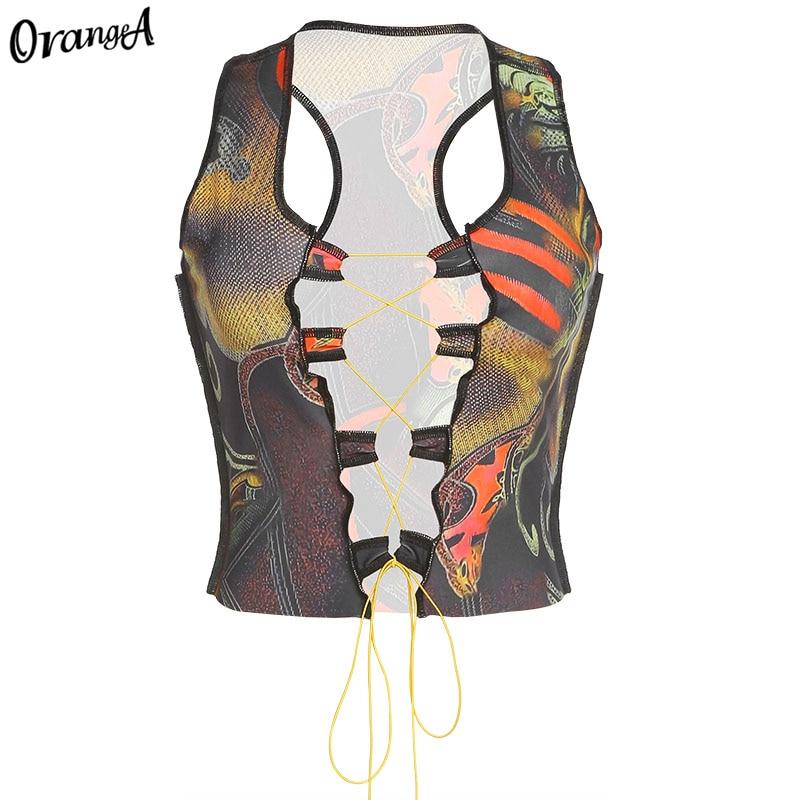 OrangeA summer women y2k sexy hollow out tank tops drawstring bandage fashion sleeveless colorful print party skinny clubwear 7