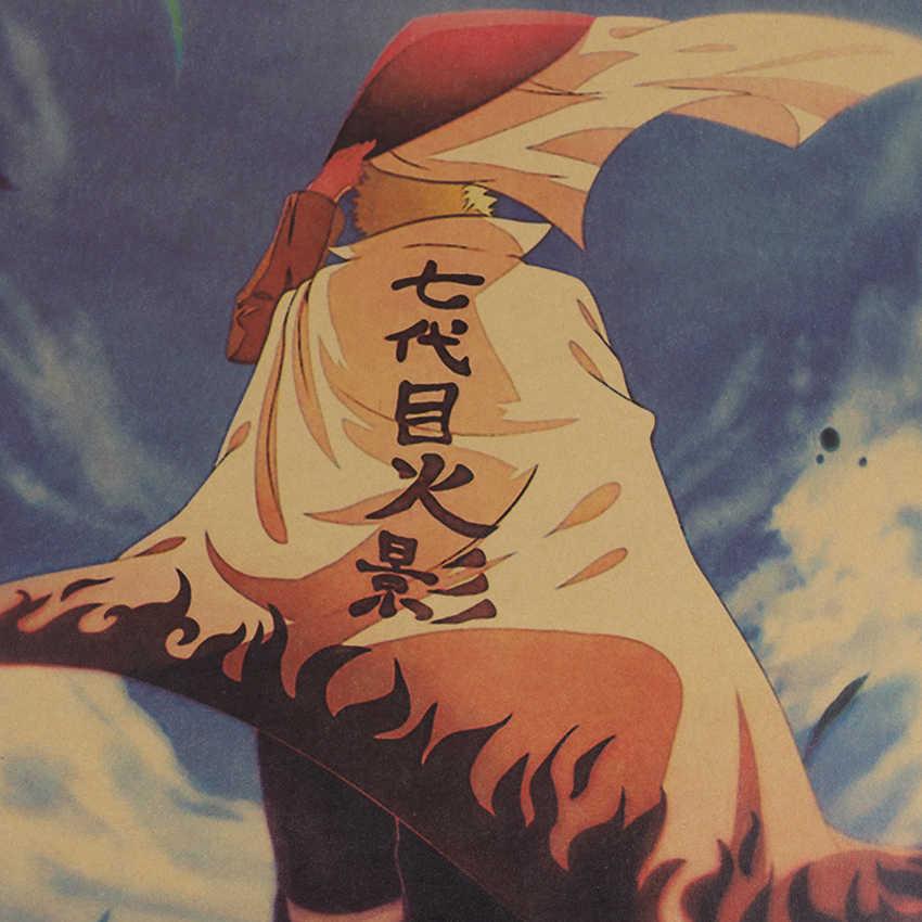 Anime Klasik Gaya Retro Naruto Kraft Kertas Dekorasi Dapur Poster Perhiasan Vintage Poster Stiker Dinding 50.5x35cm