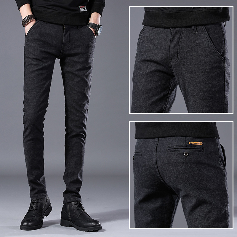 MEN'S Casual Pants Men's Spring And Autumn New Style Youth Slim Fit Pants Straight-Cut Cotton Linen Trousers Men Korean-style Bu