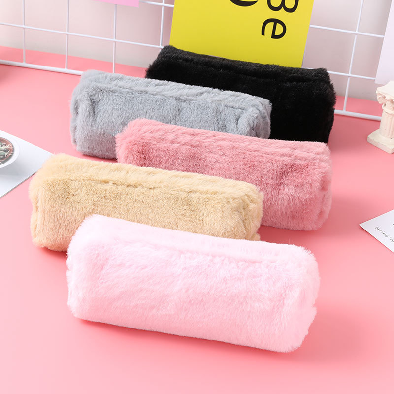 5 Color Options Girls Kawaii Plush Pencil Case Bag Cute Large Capacity Office School Supplies Stationery Student Gift Pencilcase