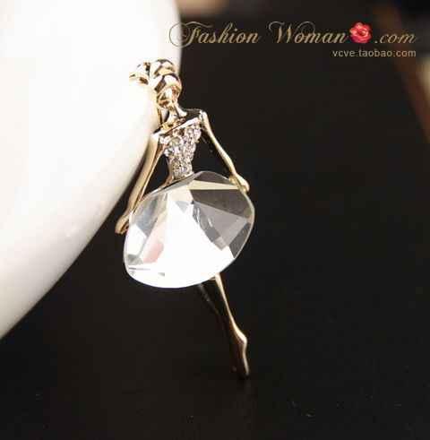 Gariton2019 Dua Tari Perhiasan Kristal Balet Gadis Rhinestone Bros untuk Wanita
