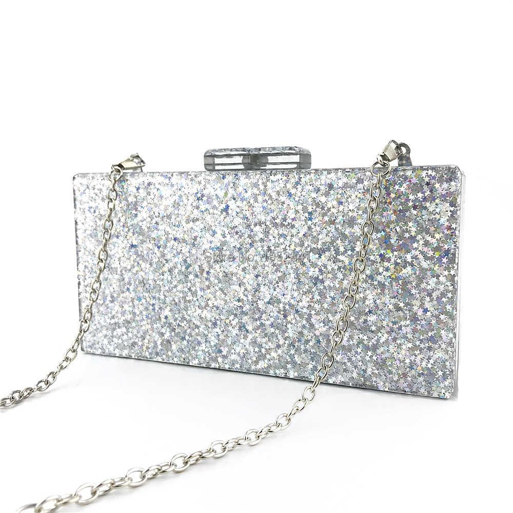 OC4090 2019 новые продукты акриловые сумки для женщин серебряные блестящие акриловые клатчи вечерние сумки