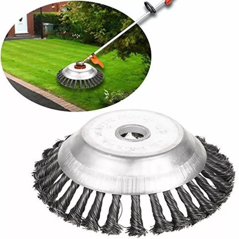 Steel Trimmer Head Garden Weed Steel Wire Brush Break-proof Rounded Edge Weed Trimmer Head For Power Lawn Mower Grass 6/8 Inch
