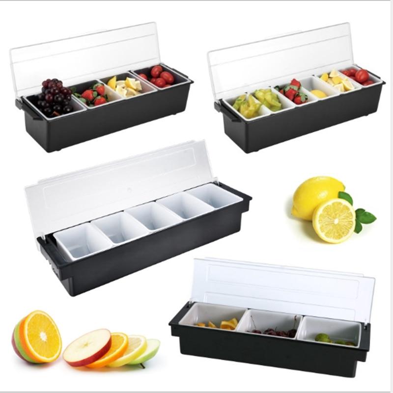 Кухня 5 отсек приправа чехол бар контейнер для специй держатель барные напитки фрукты гарнир украшения для коктейлей коробка Ktv коробка для фруктов