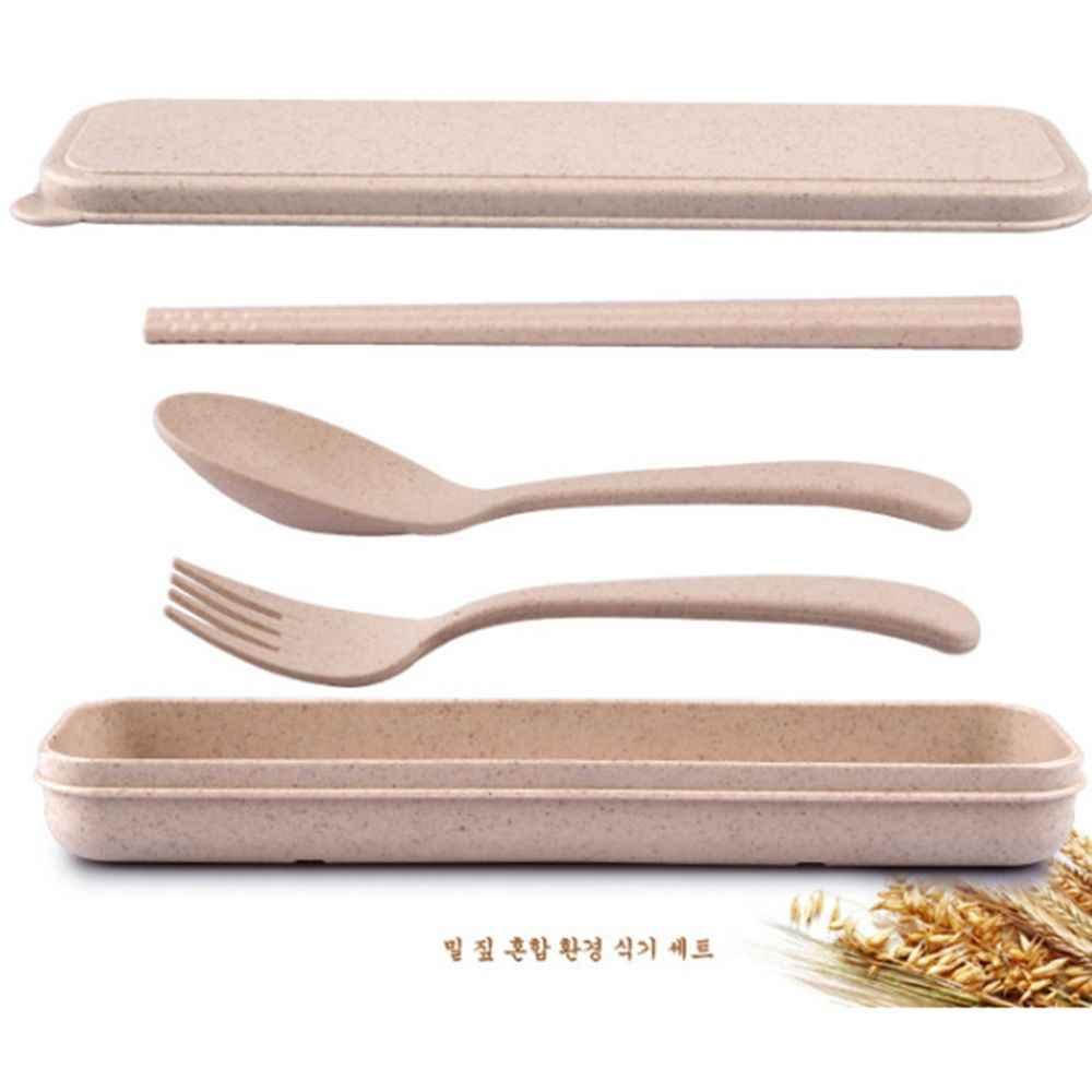 ¡Oferta! juego de cubiertos de paja de trigo portátil de tres piezas para niños, juego de cubiertos de viaje para adultos, juego de vajilla de regalo