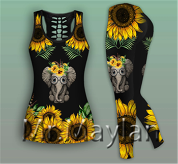 Sunflowers Elephant Printed 3D Hollow Tanktop Wome