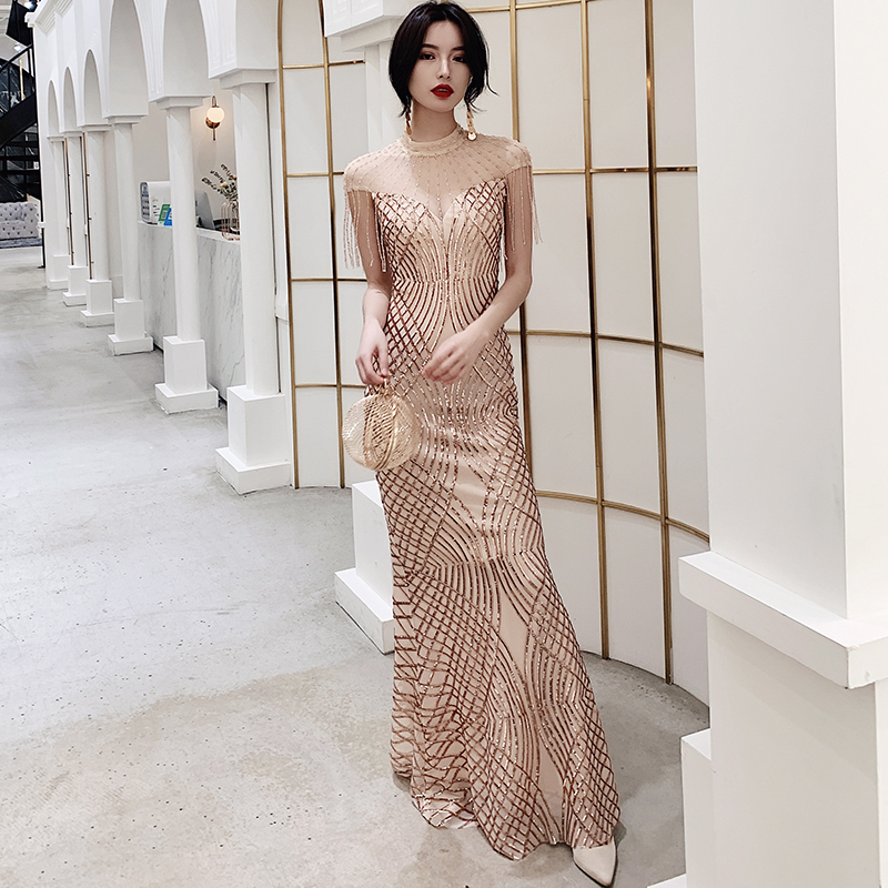 Robes De sirène Festa perles élégantes Qipao femmes Patchwork Maxi robe paillettes Champagne gland maille Cheongsam robe Sexy