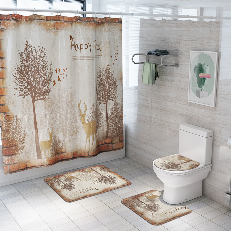 Creative Forest <font><b>Deer</b></font> Printing Shower Curtain Waterproof Floor Carpet <font><b>Bathroom</b></font> Curtains Closestool Non-Slip <font><b>Mats</b></font> For Washroom image