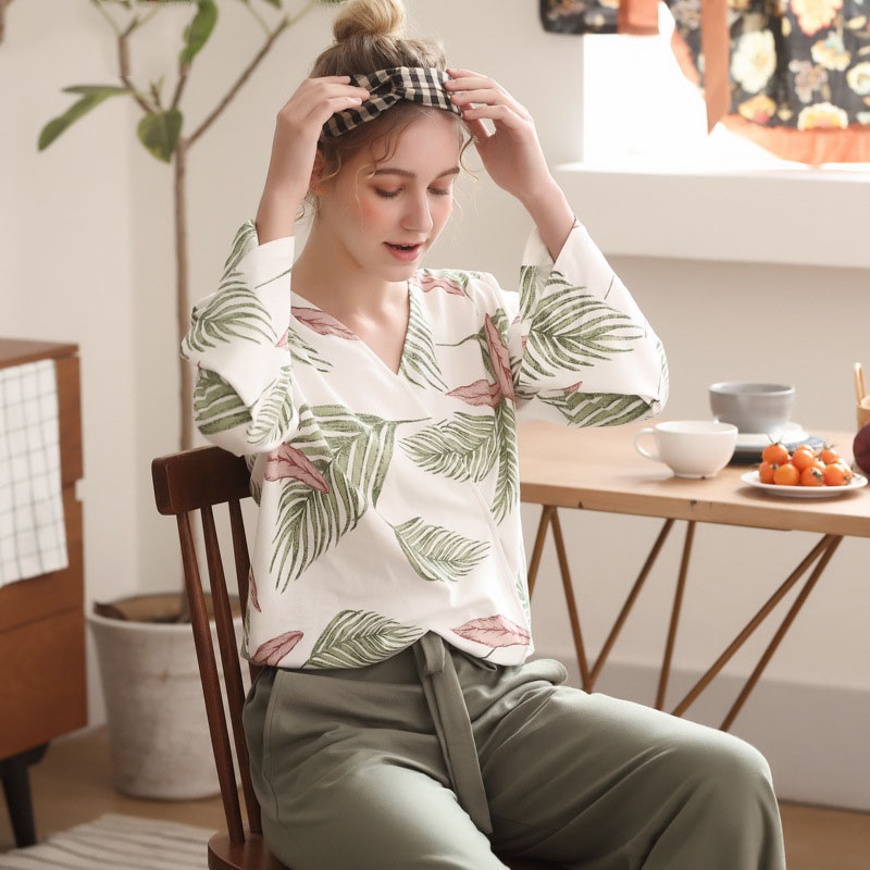 Image 3 - Pajamas Set for Women Spring and Autumn Long sleeved Tops with Trousers Pijamas Sets Leaves Printing Home Suit Pajamas for WomenPajama Sets   -