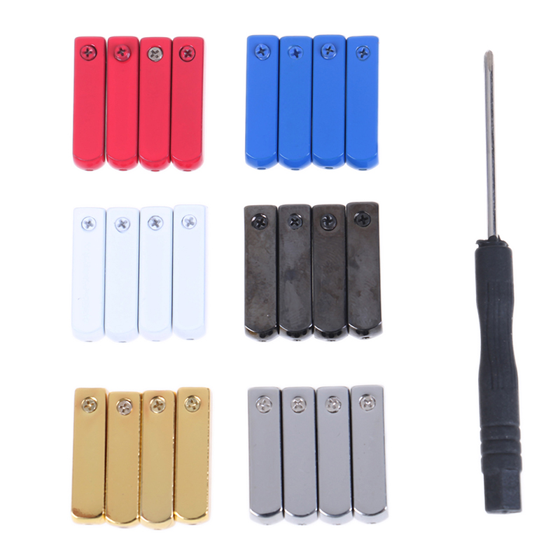 4PCS/lot DIY Screw On Metal Aglet Replacement Shoelaces Metal Tips Buckle Mirror Gunmetal Head For Sneakers With Screwdriver