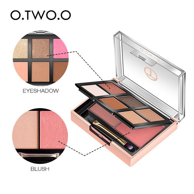 O.TWO.O 11 unids/set maquillaje Kit incluye colorete sombra de ojos corrector Contorno de destacar Mascara de delineador de ojos en polvo suelto 4
