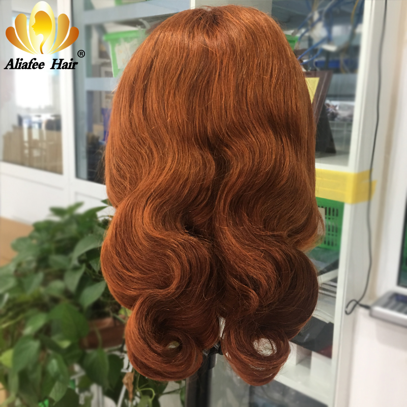 Aliafee Body wave Ginger Orange Ombre Colored Peruvian Remy Hair Blonde Wig 13x4 Human Hair Wigs 150% Pre Plucked With Baby Hair