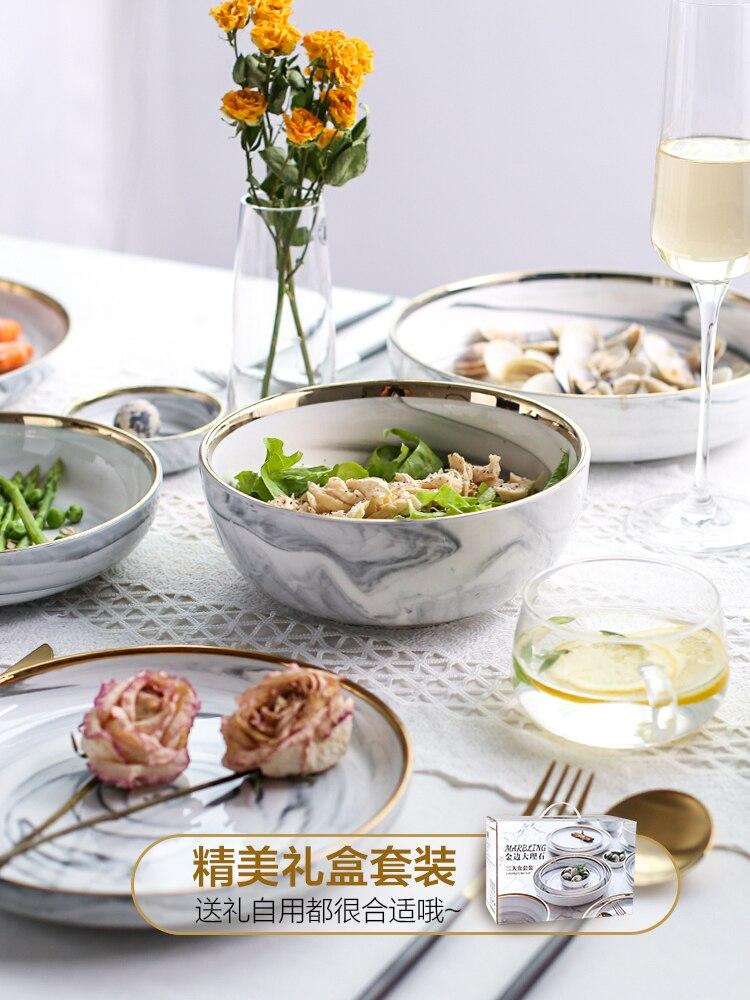 Vaisselle en céramique de luxe Phnom   Ensemble de vaisselle de luxe, bols assiettes baguettes plats ménage humidificateur, assiette en porcelaine - 5