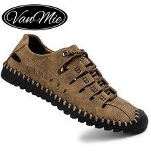 Vamnie sandalias de verano de cuero para hombre, zapatos de gladiador para deportes al aire libre, talla grande 38 48