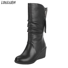 Louluen 2019 Boots Fashion Pure Warna Round Toe Slip-Up Wedge Heels Vintage untuk Wanita Hadiah Roman Laarzen bottes Mujer(China)