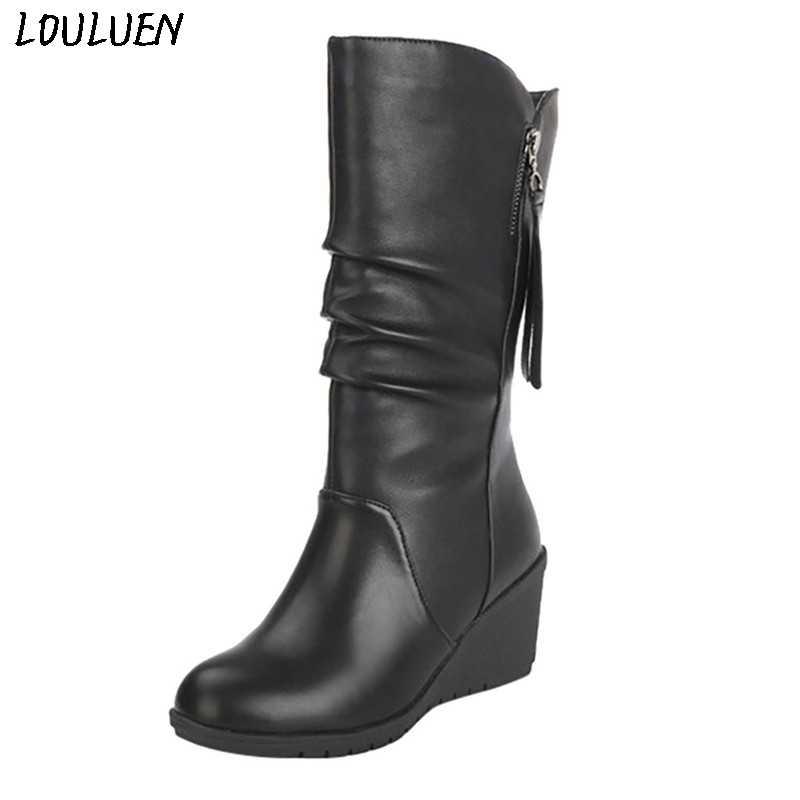LOULUEN 2019 Stiefel Mode Reine Farbe Runde Kappe Slip-Up Stiefel Keil Heels Vintage Frauen Stiefel Geschenk Römischen Laarzen bottes Mujer