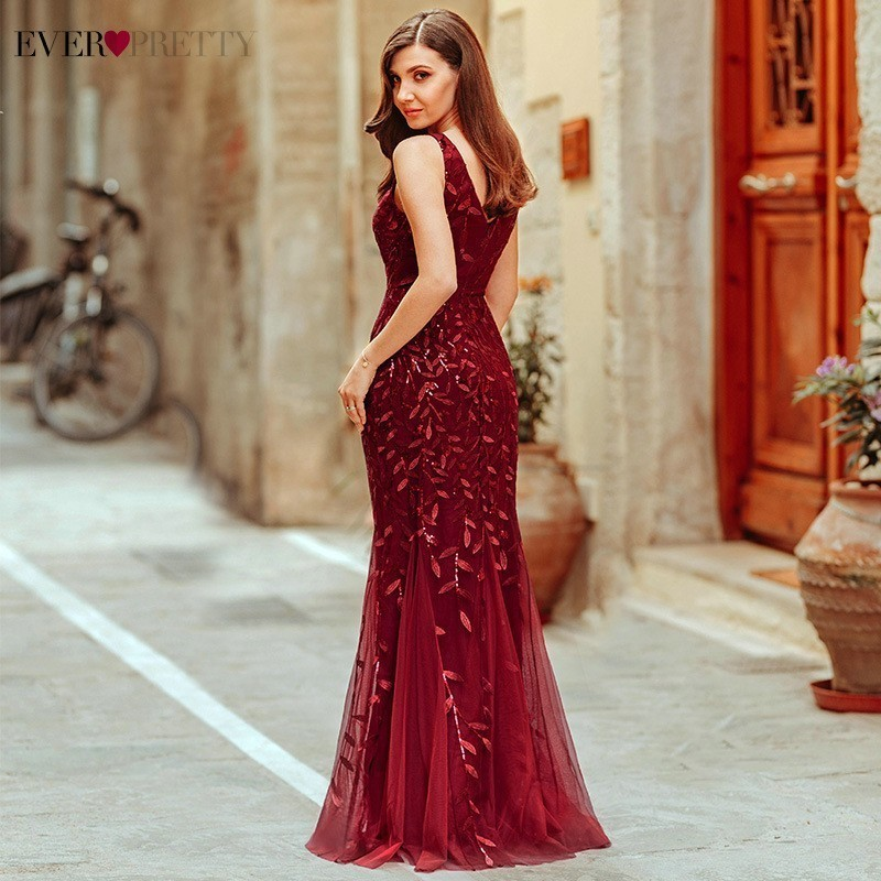 Burgundy Evening Dresses Ever Pretty EP07886 V-Neck Mermaid Sequined Formal Dresses Women Elegant Party Gowns Lange Jurk 19 3