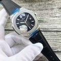 Relojes luminosos con deslizamiento De Cuero Negro Azul plata oro rosa transparente zafiro mecánico automático de marca de lujo